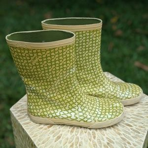 "Coach Ursula Rain Boots. Green with Cream ""C"". 9B"